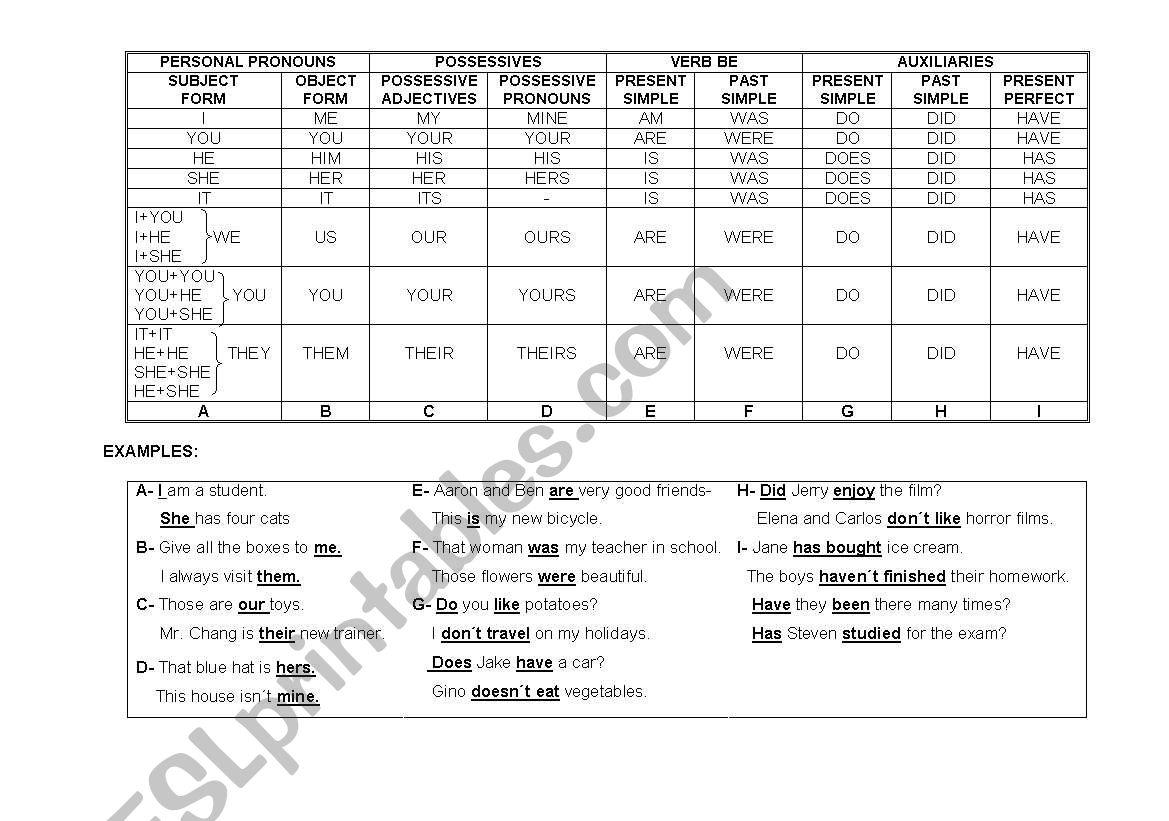 Basic  Grammar Chart worksheet