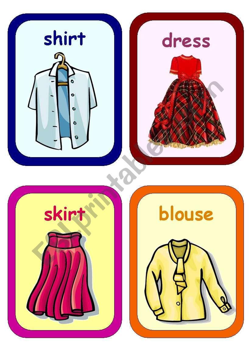 Clothes Flashcards 1 5 Esl Worksheet By Tinawu8