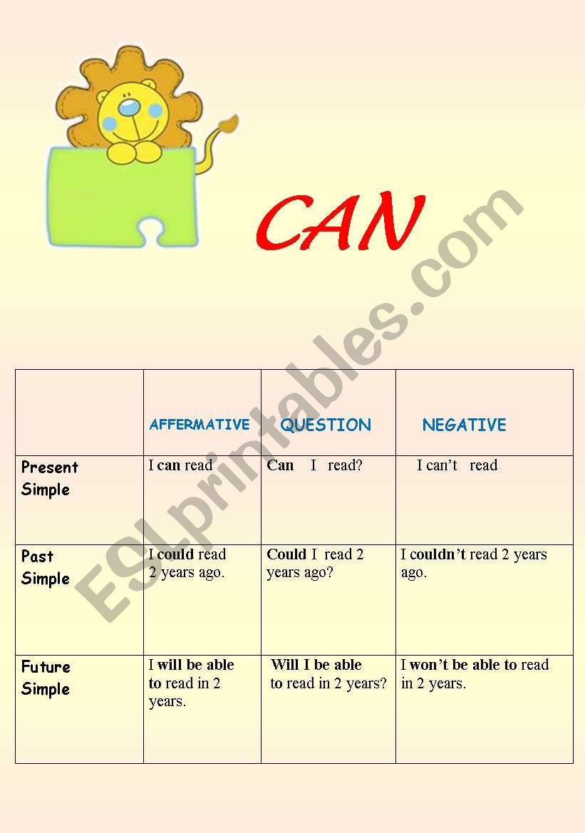 CAN     FORMATION worksheet