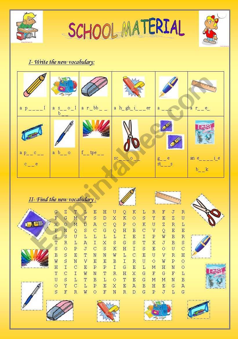 School material worksheet