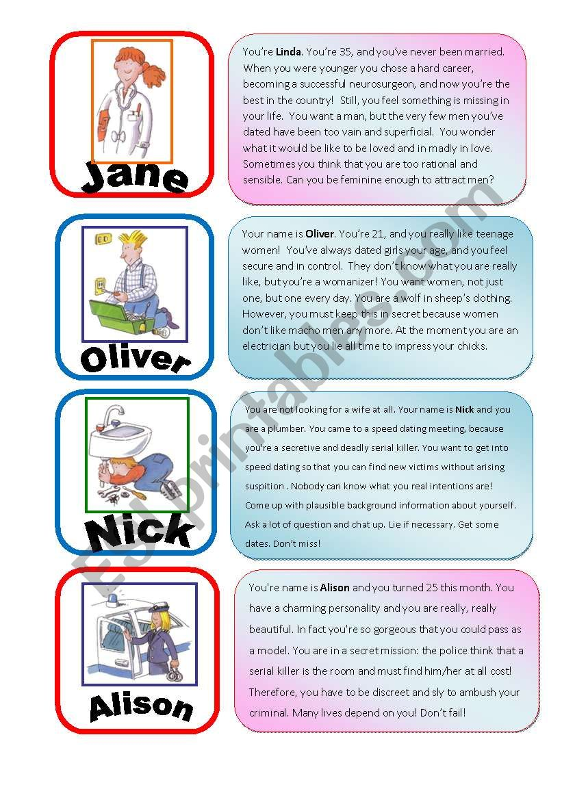 Speed Dating Role Play EXTRA cards 2 - ESL worksheet by julivan