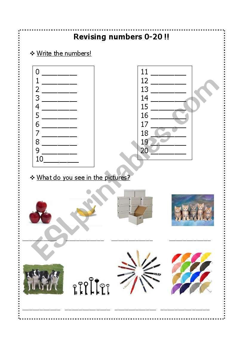 Revising 0-20 worksheet