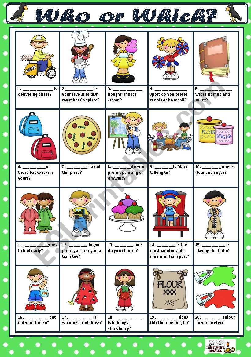 WHO or WHICH? worksheet