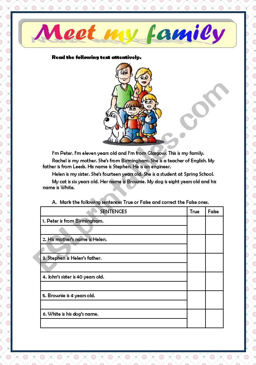 - MEET MY FAMILY - READING COMPREHENSION - BEGINNERS - ESL Worksheet