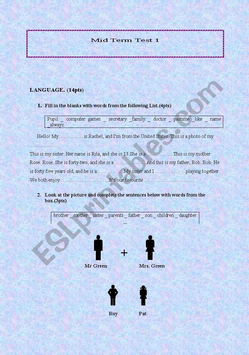 Mid term test 1 /7th form worksheet
