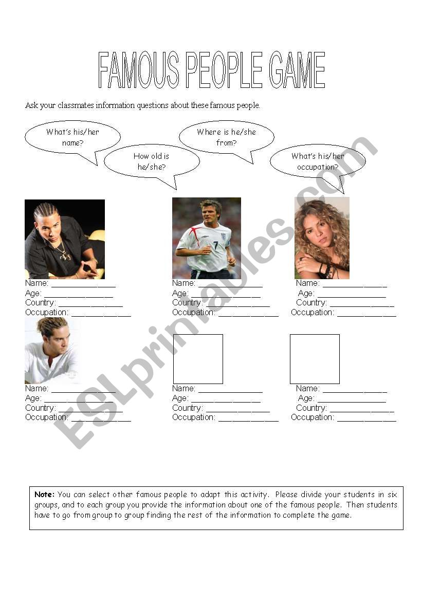 Famous People Game worksheet