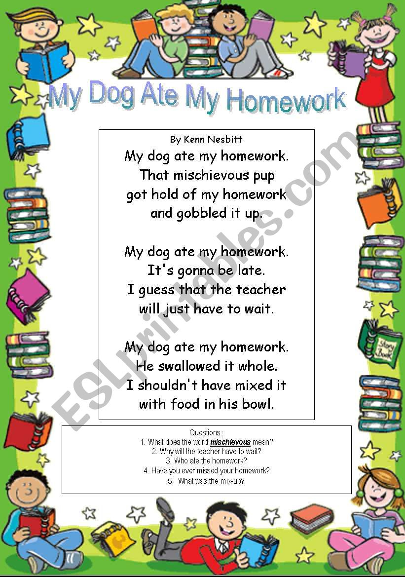 my doggy ate my homework kenn nesbitt