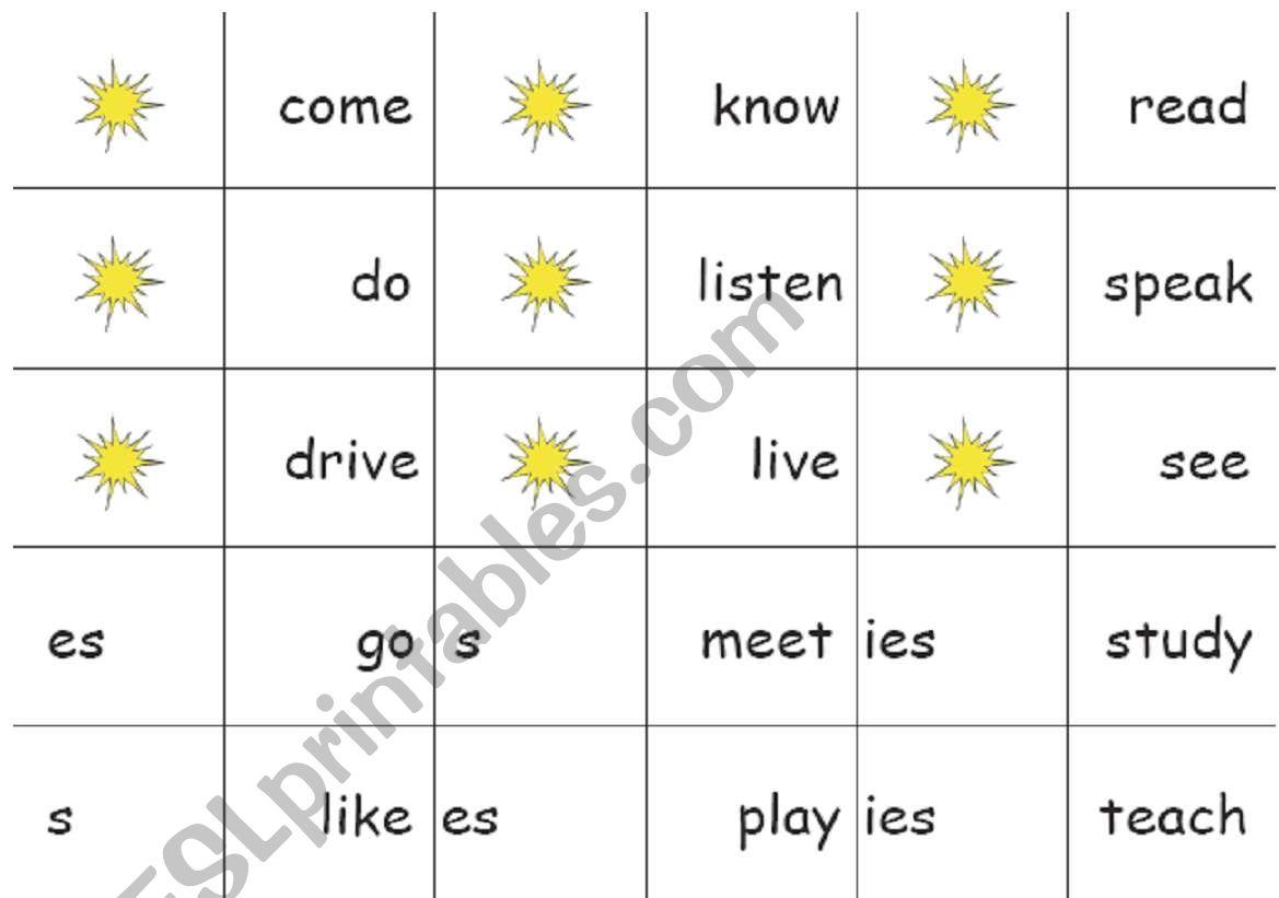 Verbsesies Dominoes Game Esl Worksheet By Rob Mckay