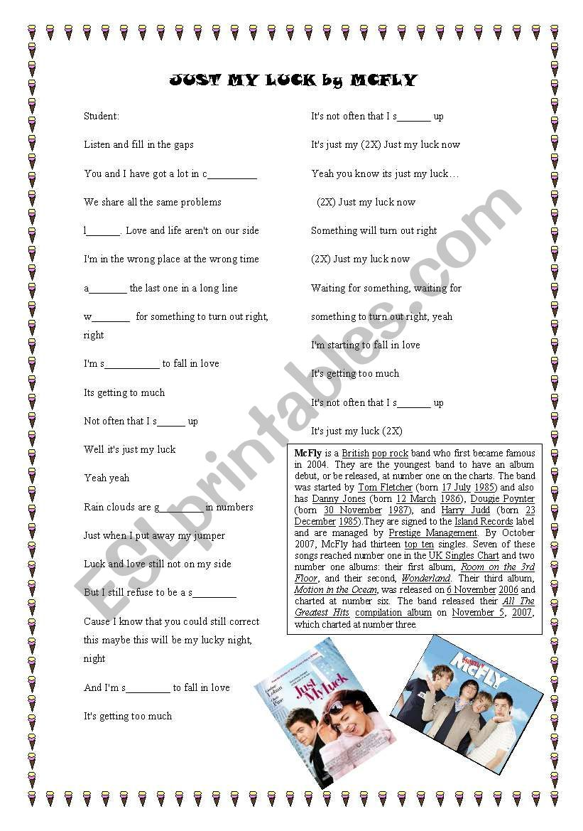 just my luck by Mcfly worksheet