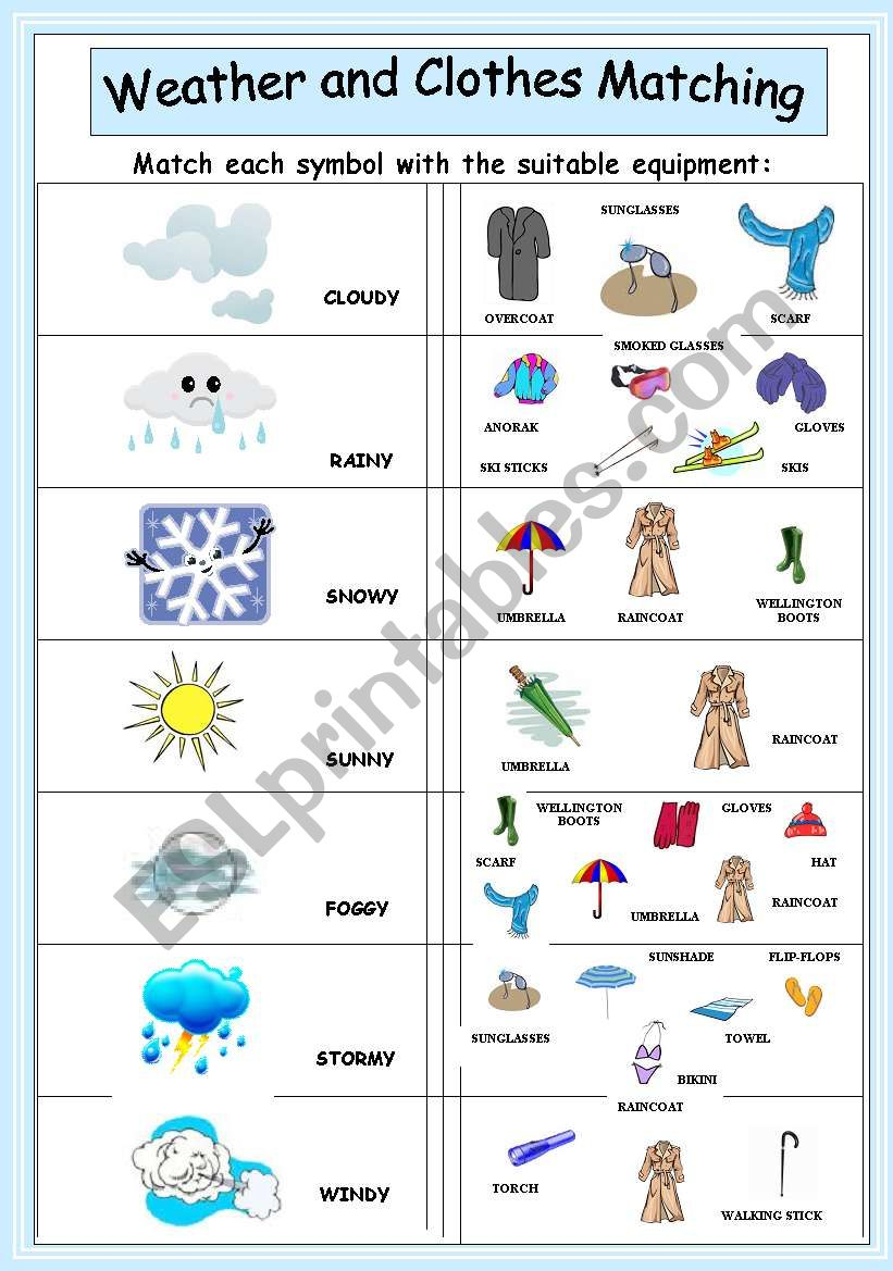 Weather and clothes matching worksheet