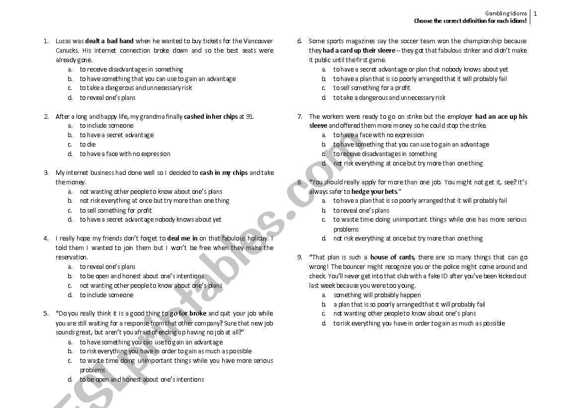 Gambling Idioms_Multiple Choice - ESL worksheet by njivyo