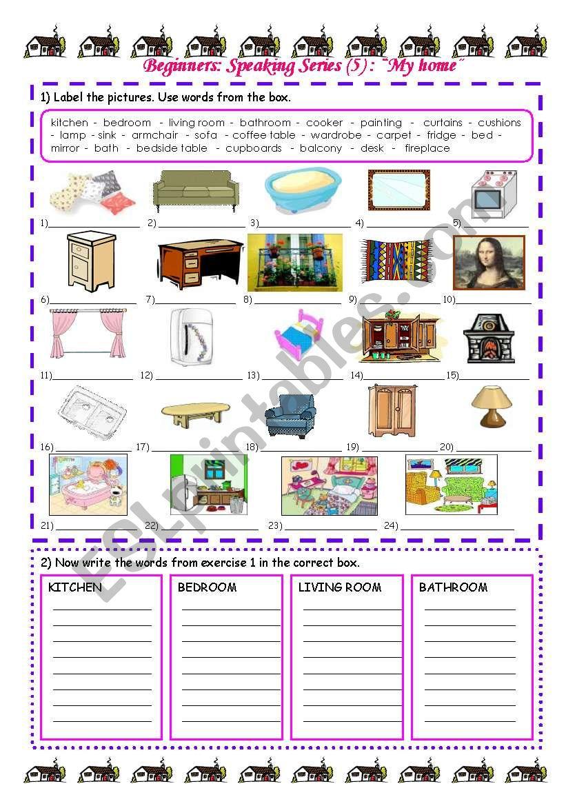 Speaking Series 5 My Home Esl Worksheet By Vickyvar
