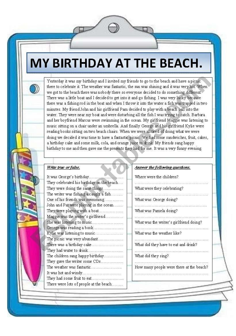 my birthday at the beach reading comprehension esl worksheet by montseteacher. Black Bedroom Furniture Sets. Home Design Ideas