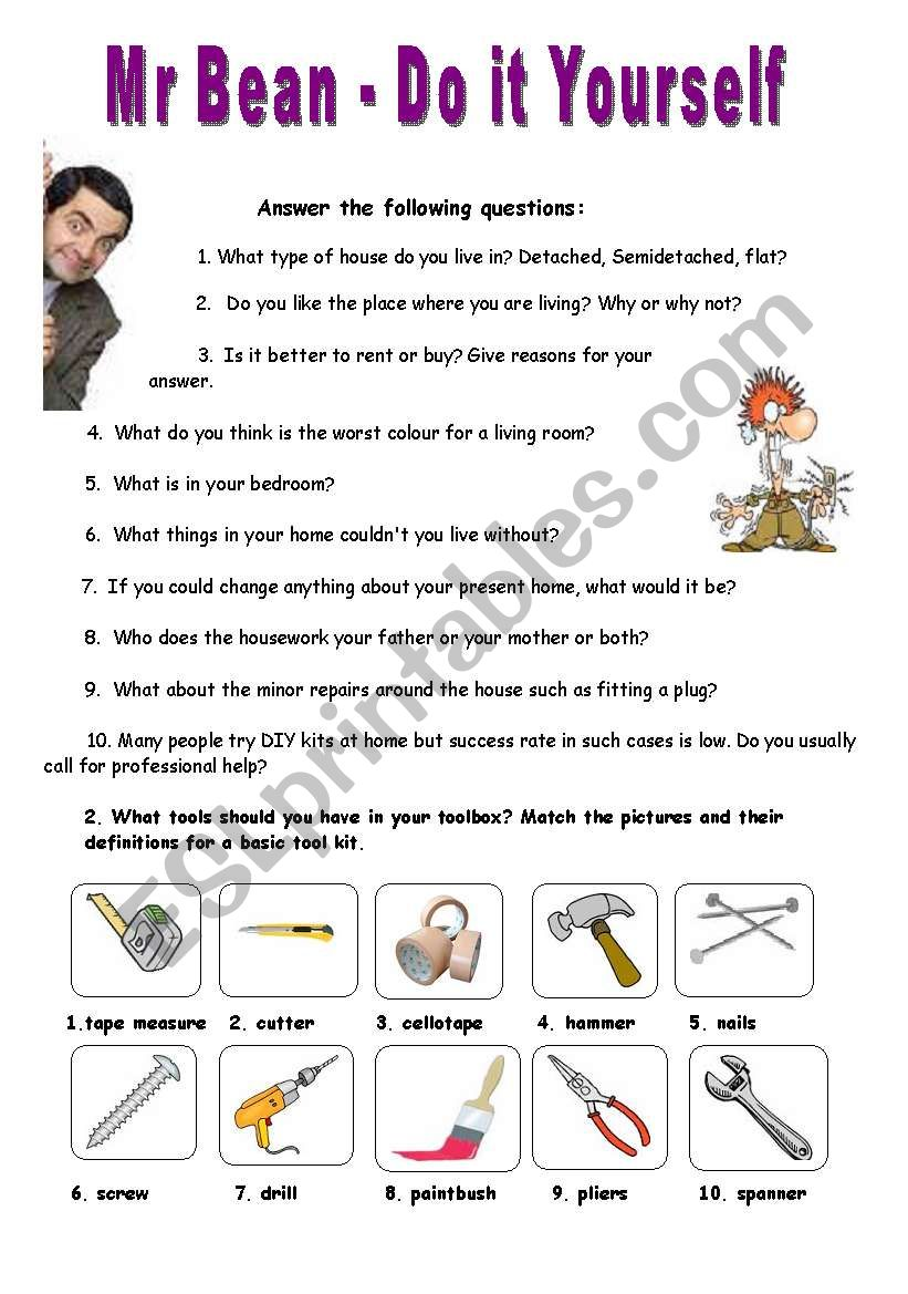 English worksheets mr bean series do it yourself video session mr bean series do it yourself video session solutioingenieria Images