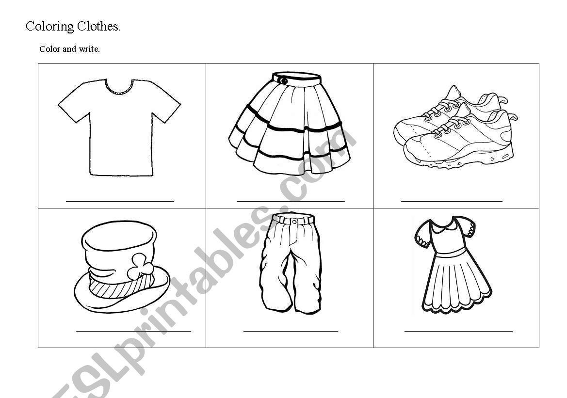 Clothes and colours worksheet
