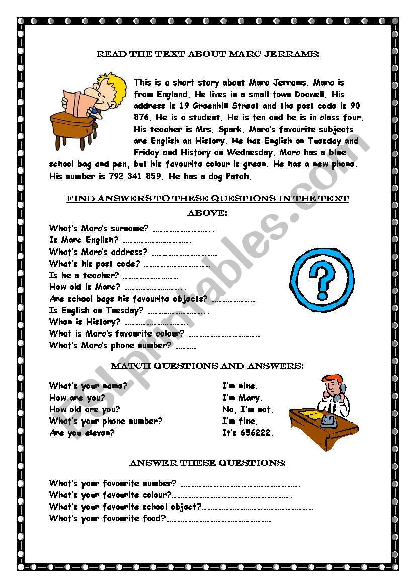 Reading comprehension / Wh-questions - ESL worksheet by Marywell