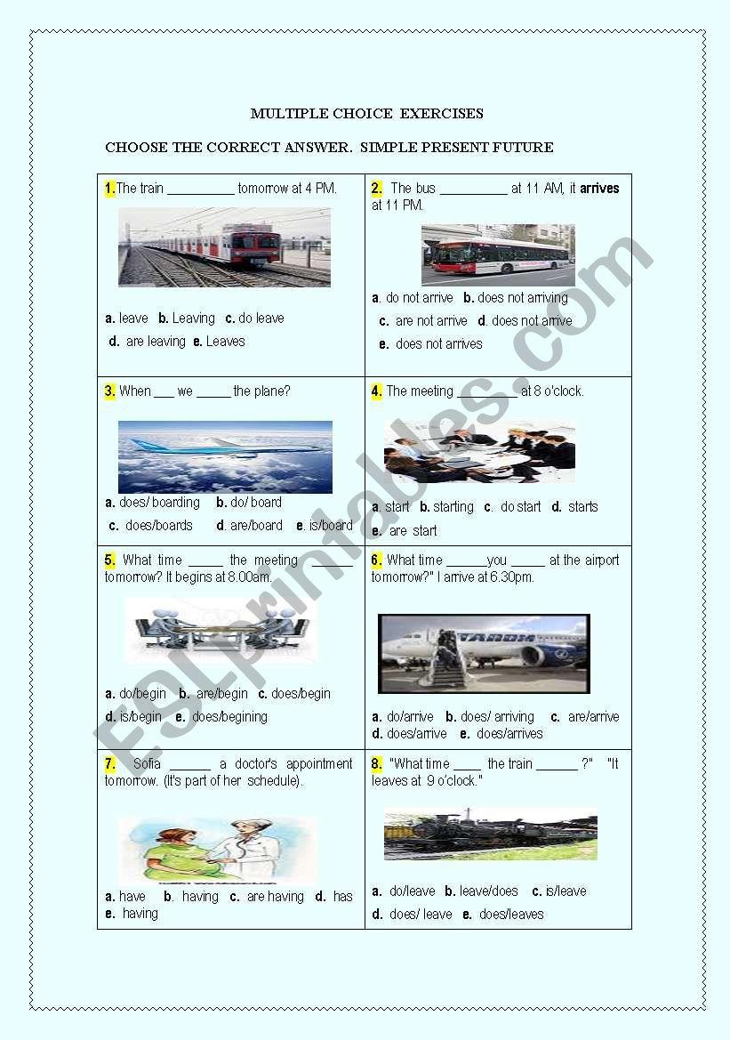 Simple present future worksheet