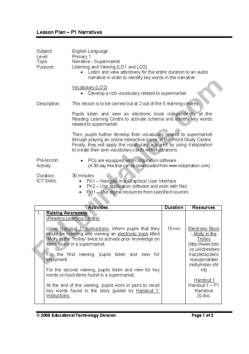 English Worksheets Primary 1