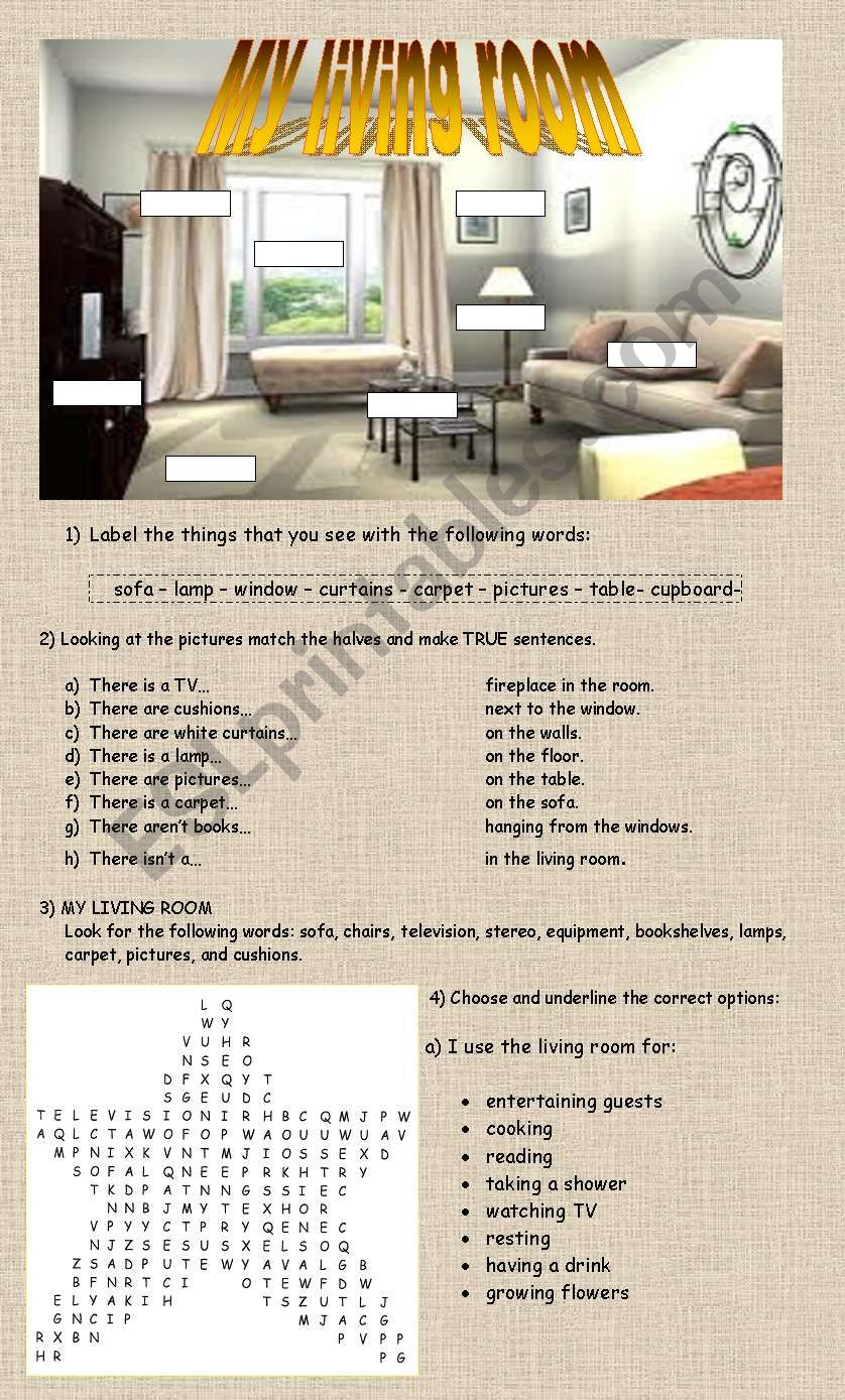 My Living Room Worksheet