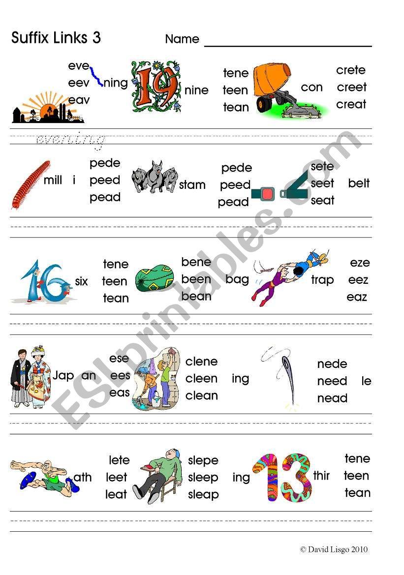 Suffix Links 3 Ee Ea E E Phonics Worksheet Esl