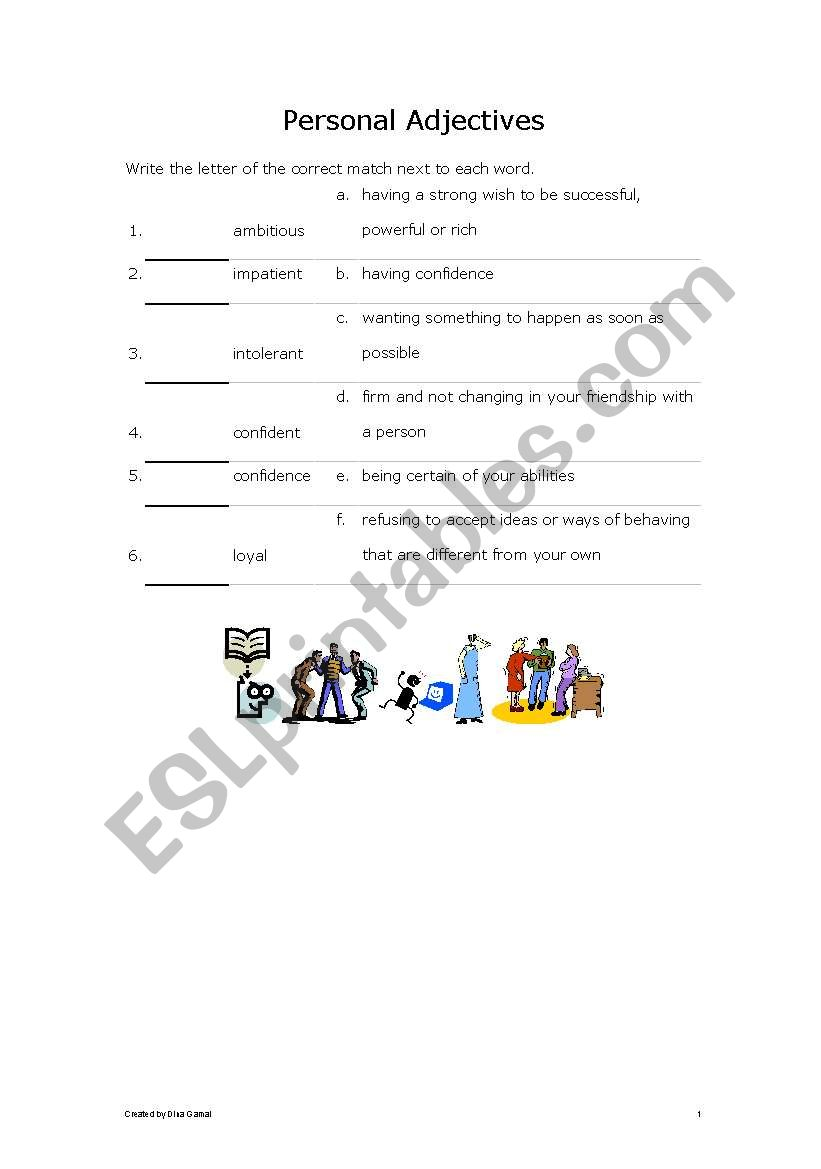 personal adjectives worksheet