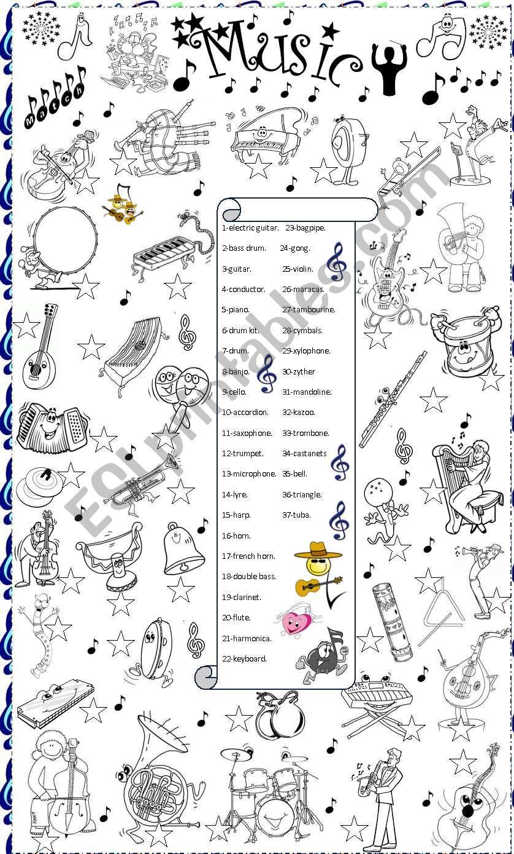 music matching worksheet