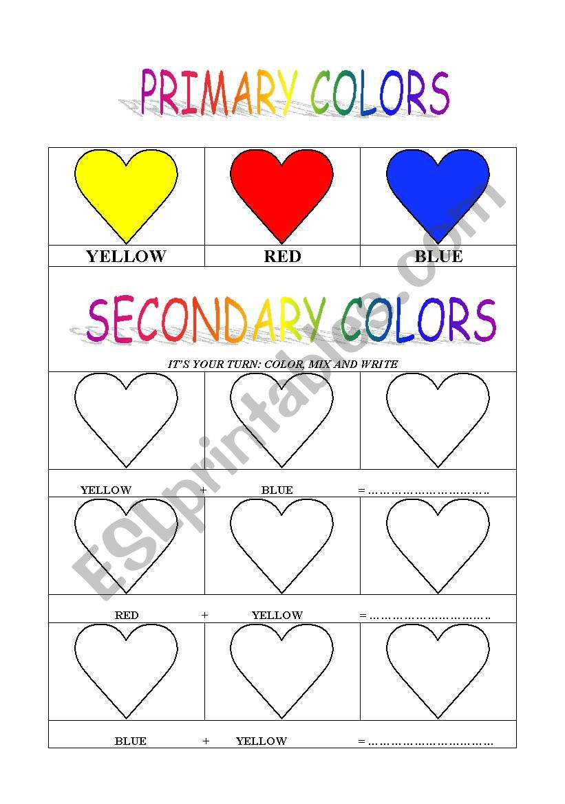 Primary And Secondary Colors Esl Worksheet By Cinni