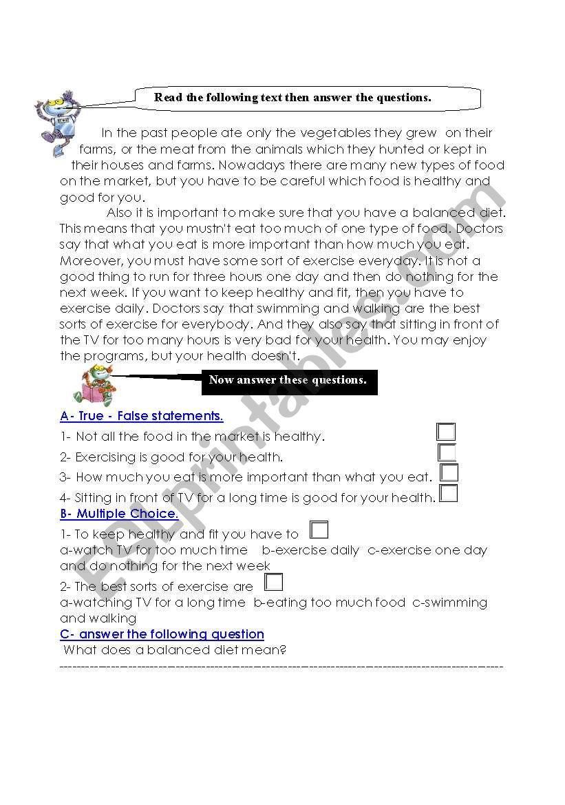 Keeping Fit worksheet