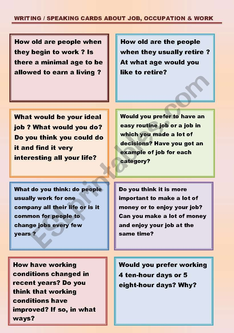 WRITING / SPEAKING CARDS ABOUT JOB, OCCUPATION & WORK