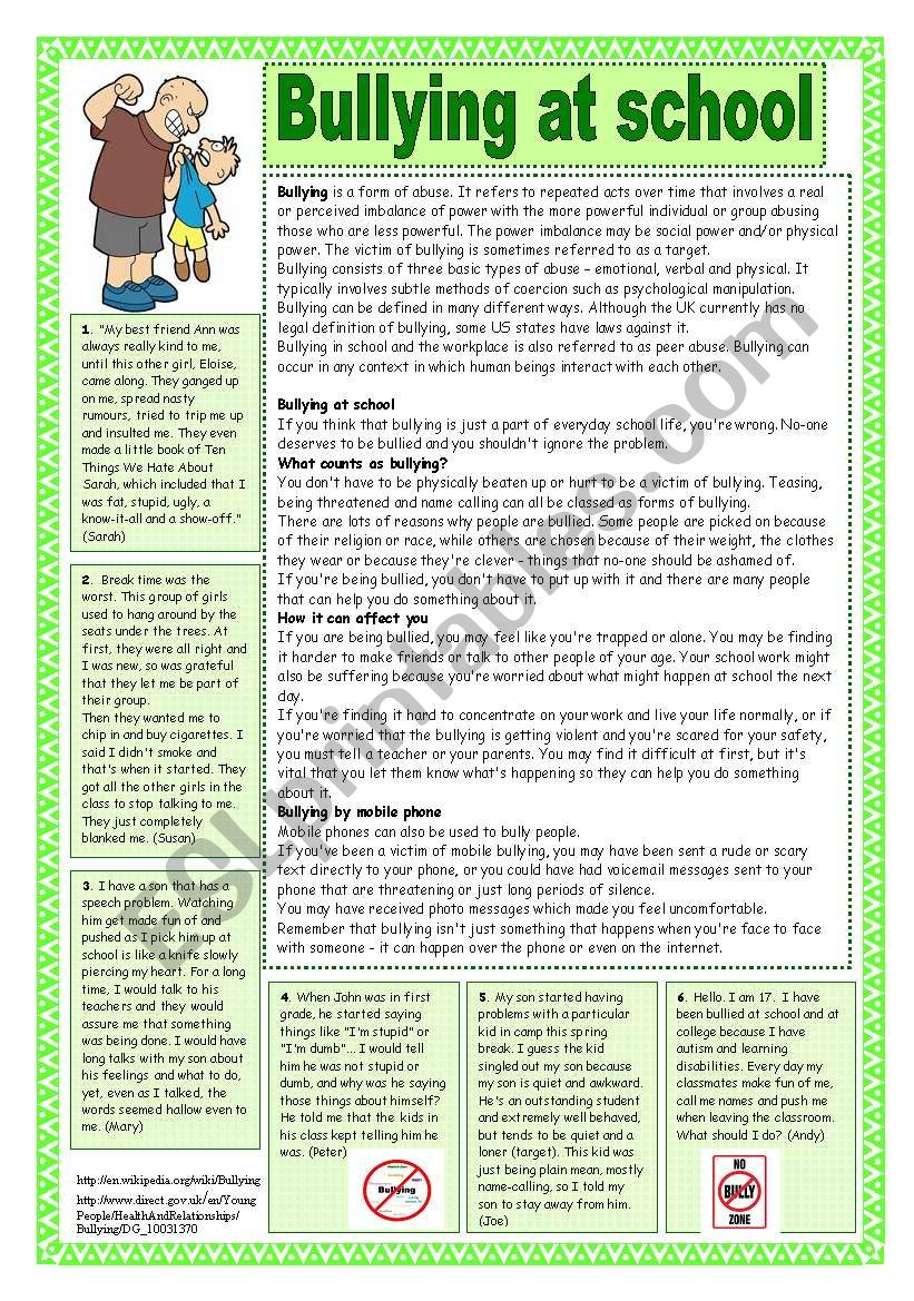 Bullying at school. Reading comprehension