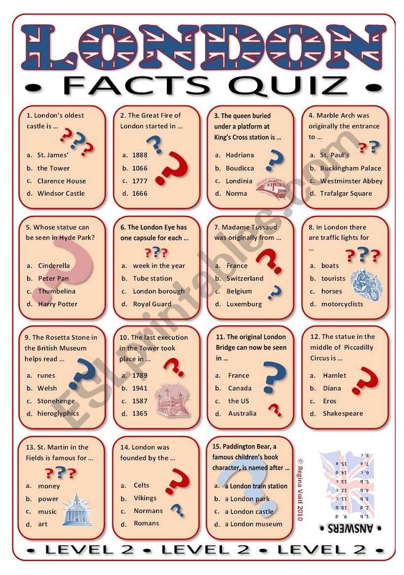 London Facts Quiz Multiple Choice medium