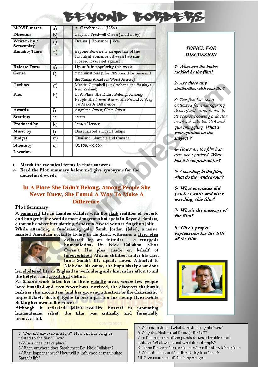 BEYOND BORDERS (Angelina Jolie & Clive Owen) - ESL worksheet by ...