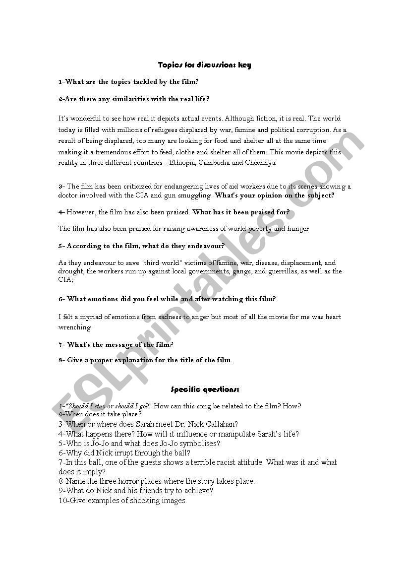 BEYOND BORDERS (Angelina Jolie & Clive Owen) - ESL worksheet ...