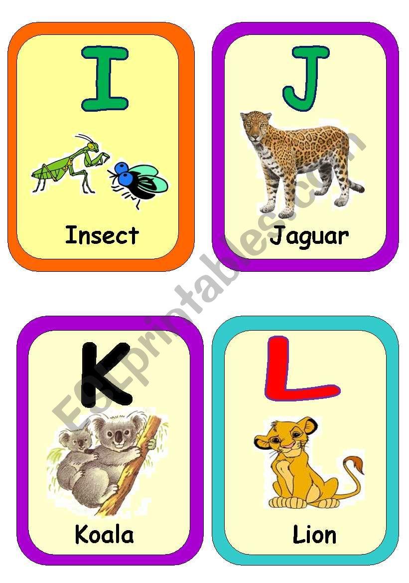 Alphabet flash cards part 2 worksheet
