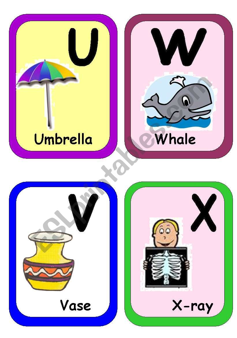 Alphabet flash-cards part 3 worksheet