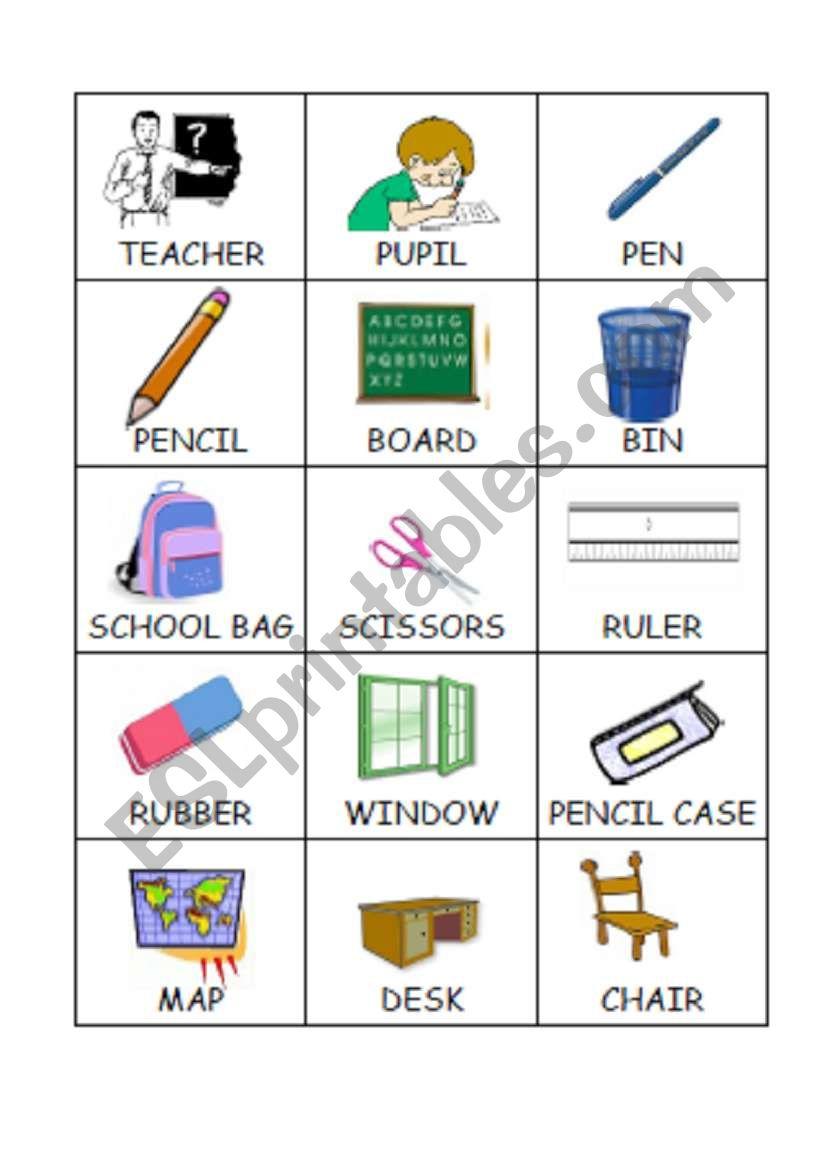 Memorygame Classroom Objects Esl Worksheet By Faurfab