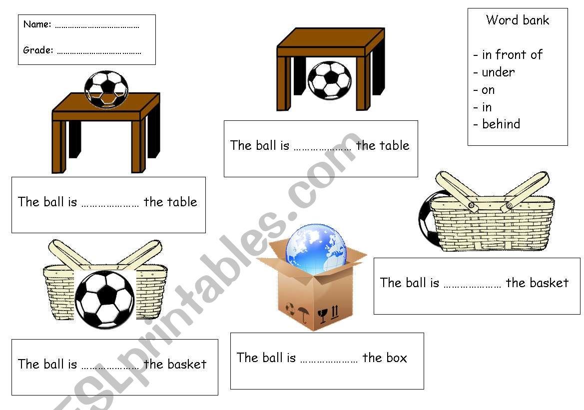 prepositions worksheet worksheet