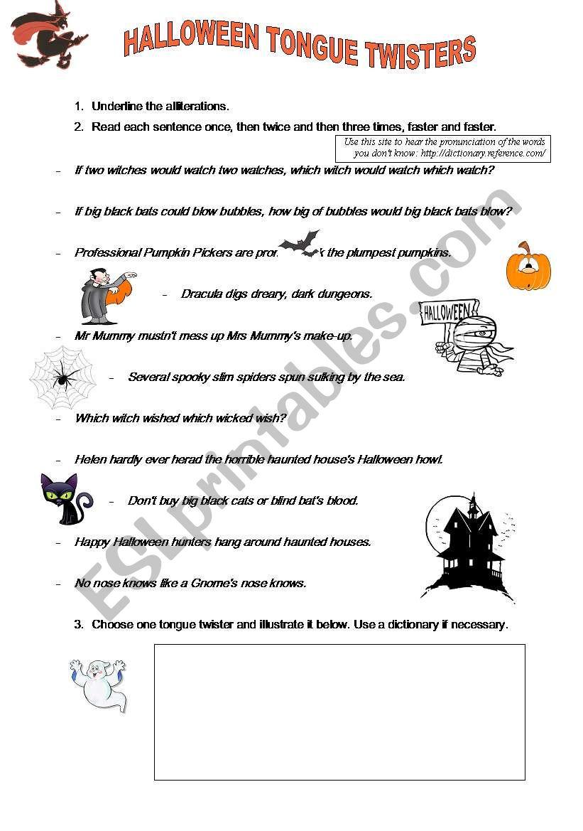 Halloween Tongue Twisters Worksheet