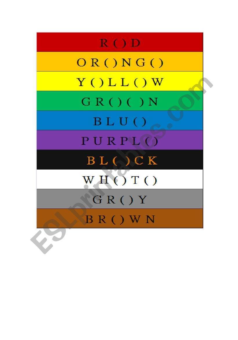 color name worksheet
