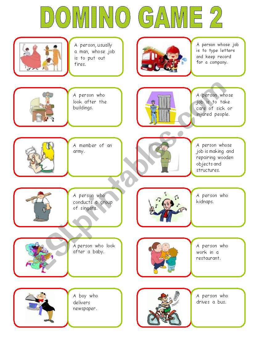 descriptive jobs ( domino game ) part 2 ( 2 pages ) - ESL ...