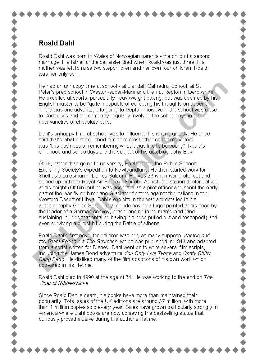 Biography Of Roald Dahl Esl Worksheet By Jadiebabe1