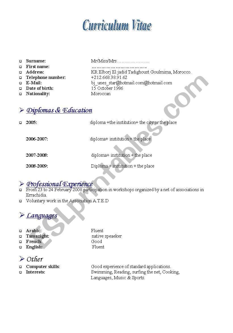 an axample of CV worksheet