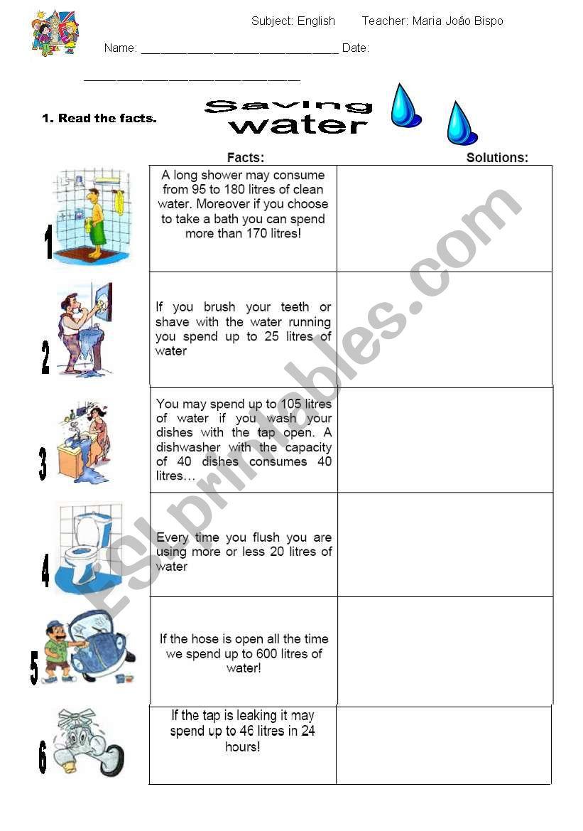 saving water esl worksheet by mariajoao7. Black Bedroom Furniture Sets. Home Design Ideas