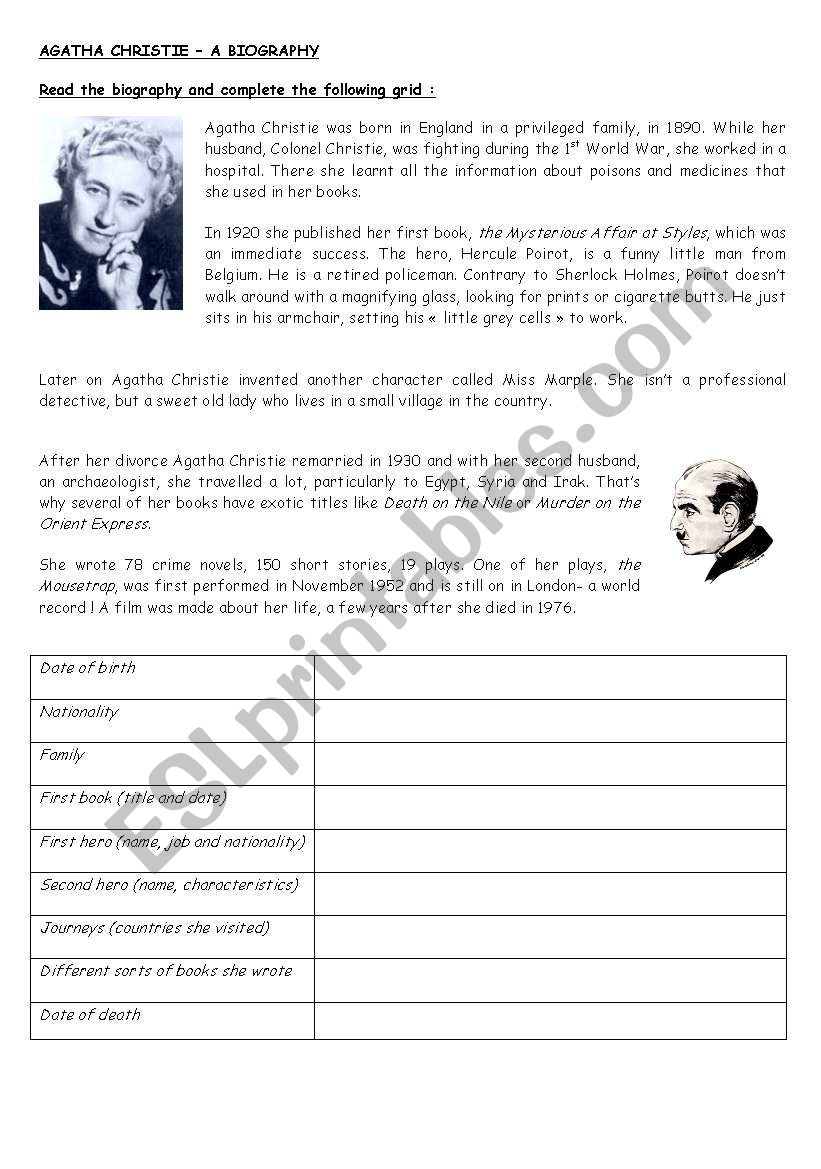 Agatha Christie - a biography worksheet