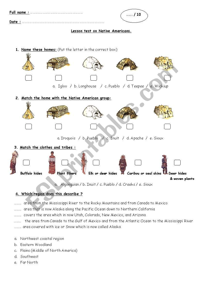 Lesson Test on Native Americans