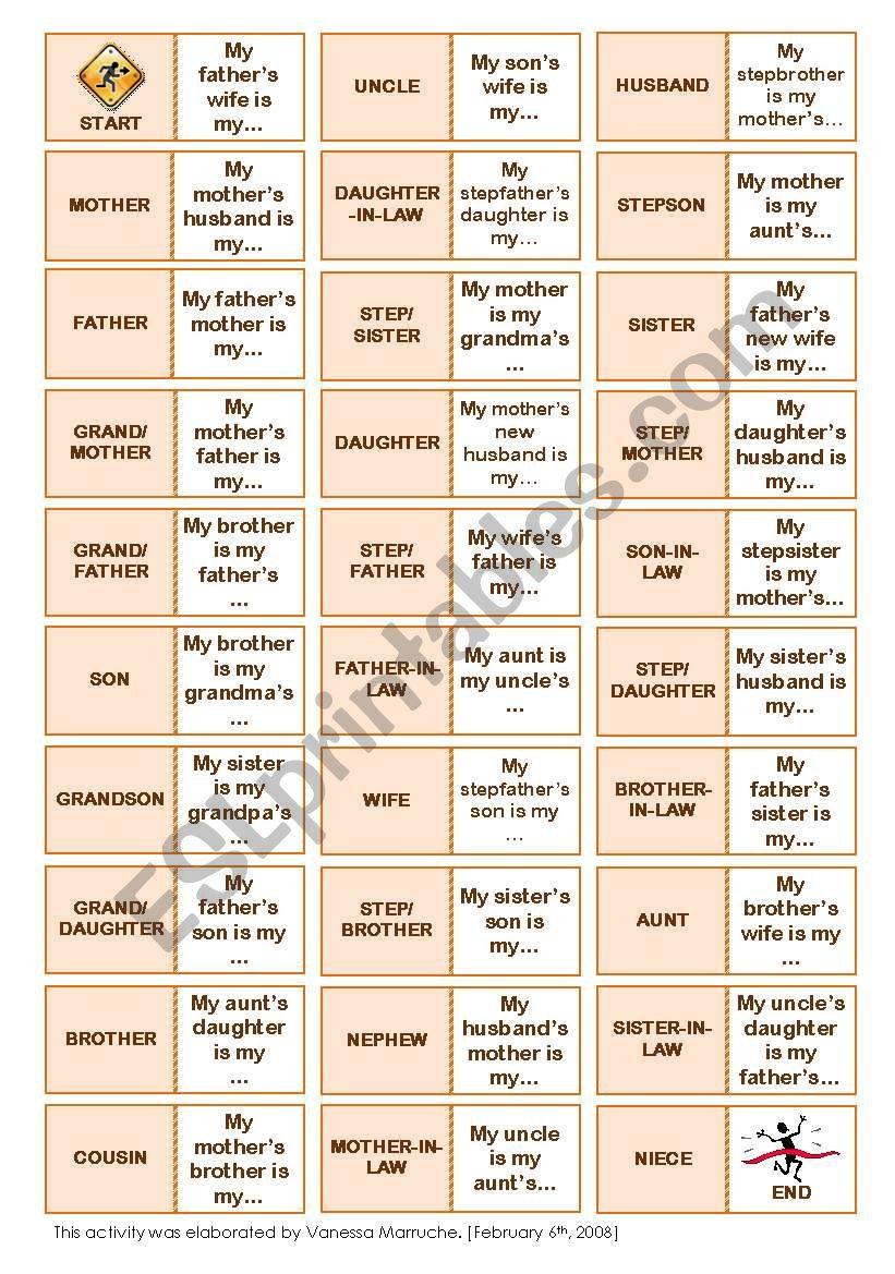 Family Network Dominoes worksheet