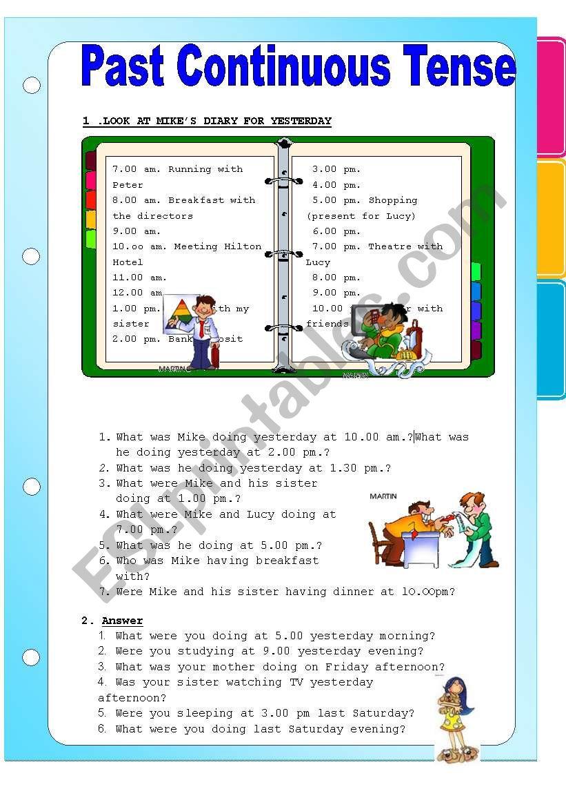 PAST CONTINUOUS TENSE worksheet