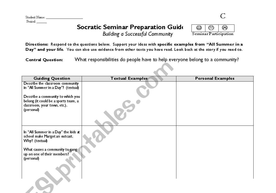 picture about All Summer in a Day Worksheet referred to as English worksheets: Establishing a Superior Regional- Socratic