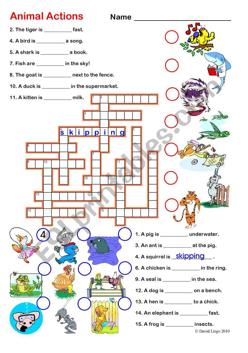 Animal Actions 1 and 2: Crossword and Word Search with keys