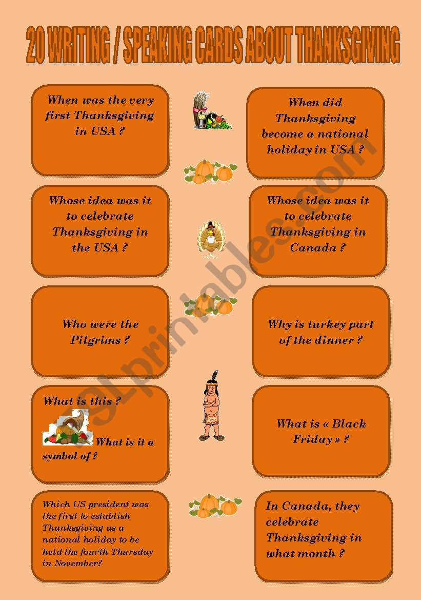 20 WRITING/SPEAKING CARDS ABOUT THANKSGIVING + KEY